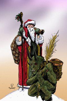 Krampus and Saint Nicholas | Santa and Krampus by ~Boatwright on deviantART