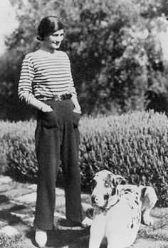 Coco Chanel wearing the timeless classic Breton stripe shirt - get the staple french stripe shirts at #suddenlyfrench