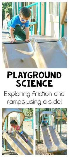 Playground Science for Kids: Exploring ramps and friction using a slide! Simple physics exploration using ramps for young children with extension activities for older kids! ~ BuggyandBuddy.com
