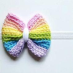 Crochet Rainbow Bow Headband Clip Hair Accessory Newborn Baby Infant Toddler Child Adult Photography Photo Prop Handmade