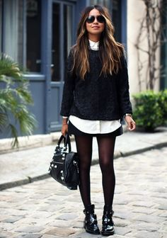 black and white layeres outfit. this is freaking fabulous but i feel like my legs would get cold. hence the over the knee lace up boots. i really have to get those.