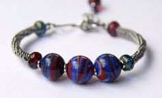 Red, White, and Blue Lampwork Beaded Bangle Bracelet with Czech Glass Accent…