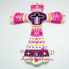 UNIQUE HANDPAINTED CROSS Purple/Pink. Kids room by GetSurprised