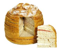 Take a large round of bread. Remove the inside and use it to make sandwiches. Great for potlucks ; Sandwiches, Brunch, Potlucks, Pains, Galette, Creative Food, Food Ideas, Web Design, Bread