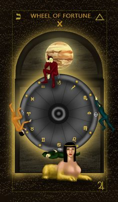 The Wheel of fortune is a very understated card in teh Tarot Deck. After all, no glory in a wheel, right? Wheel Of Fortune Tarot, Free Tarot Cards, Fortune Cards, Tarot Card Meanings, Major Arcana, Gods And Goddesses, Tarot Decks, Sword Art Online, Sailor Moon