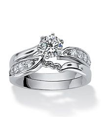 .86 TCW Round Cubic Zirconia Sterling Silver Bridal Engagement Wedding Ring Set by PalmBeach Jewelry