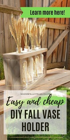 Looking for diy Fall decor idea to make? Then check this tutorial showing easy and cheap diy wood vase holder. Simple project that will look amazing on your fall mantel or as awesome fall table centerpiece for any season. Click to learn more about how to make it yourself in no time. Table Centerpieces For Home, Wood Centerpieces, Small Woodworking Projects, Diy Woodworking, Diy Furniture Projects, Diy Pallet Projects, Fall Crafts, Diy Crafts, Art And Craft
