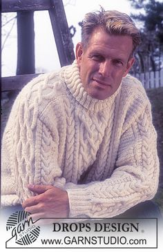 Men - Free knitting patterns and crochet patterns by DROPS Design Aran Sweaters, Cable Sweater, Men Sweater, Aran Knitting Patterns, Free Knitting, Crochet Patterns, Knitting Ideas, Drops Design, Knit Crochet