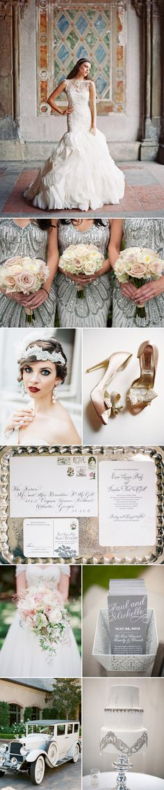 Silver and Blush Wedding Color Palette Inspiration Board