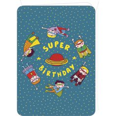 "Laetitia Haas carte postale double (12.2 x17.8 cm) ""Super birthday boys"""