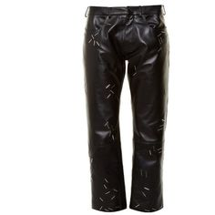 Christopher Kane Staple-embellished straight-leg leather trousers (€630) ❤ liked on Polyvore featuring pants and black