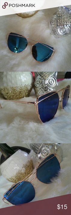 Blue Reflector Lense Sunnies ? Super Cute and Chic Shades  Trimmed in Gold With Blue Reflector (mirrored) Lenses ?  ~ Ask all questions before purchase ~ Feel free to make your best offer   *note : last photo is in outdoor lighting Accessories Sunglasses