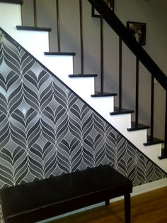 Wallpaper Accent Wall Hallway Black And White 25 Ideas For 2019 Accent Wall, Brick Wallpaper, Wallpaper Accent Wall, Wallpaper Stairs, Black Walls, Stair Railing Makeover, Bedroom Wallpaper Red, Gold Wallpaper Phone, Black And White Stairs