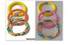 3 Strand color beaded crochet bracelet  Bead by SERMINCEJEWELRY