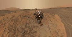 """CURIOSITY SELF-PORTRAIT This self-portrait of NASA's Curiosity Mars rover shows the vehicle at the """"Mojave"""" site, where its drill collected the mission's second taste of Mount Sharp. The scene combines dozens of images taken during January 2015 by the Mars Hand Lens Imager camera at the end of the rover's robotic arm."""