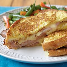 Dijon Croque Monsieur: Instead of your usual grilled ham and cheese, try this French-style sandwich that's enhanced by the zip of whole-grain mustard. Grilled Ham And Cheese, Grilled Cheese Recipes, Pork Recipes, Sandwiches, Menu Quick, Chefs, Best Pork Recipe, Cooking Light Recipes, Gourmet