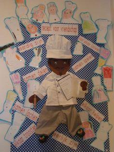 recept voor vriendschap. Van de ingrediënten cakejes gebakken. Werk zit op een prikbord geprikt. De kinderen hebben zich zelf als kok getekend.