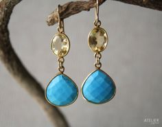 Turquoise & Citrine Earrings Perfect Gift for Mothers Day by ATELIERGabyMarcos, $129.00