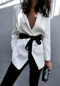 White Sashes Tailored Collar Long Sleeve Fashion Cotton Blazer