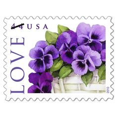 Pansies in a basket Love postage stamp