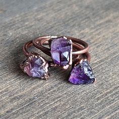 This item is unavailable - Raw amethyst ring Raw crystal ring by HeartHouseStudio on Etsy - Jewelry Accessories, Jewelry Design, Jewelry Ideas, Jewelry Trends, Lady Like, Raw Amethyst, Amethyst Rings, Violet, Beautiful Rings