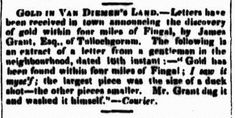 GOLD IN VAN DIEMEN'S LAND.— Newspaper report announcing the first discovery of Tasmanian gold