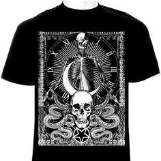 This t shirt done by Apocalypse Merch features a skeleton within a clock, a skull, serpents symbolizing forbidden knowledge, and an inverted pentagram. All of our prints are done using a direct-to-gar