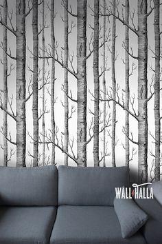 Nahtlose selbst Wald Baum Blume Muster Tapete  von WallHalla