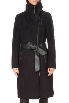 This is the stunning 'Nori' Black Wool Coat With Leather Sash Belt from our friends at Mackage! Puffer Coat With Fur, Black Wool Coat, Cashmere Color, Sash Belts, Winter Coats Women, Leather, Silhouette, Closure, Touch