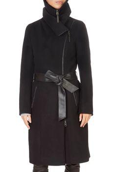 'Nori' Black Wool Coat With Leather Sash Belt | Jessimara