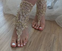 SANDALS // beach shoes,Champagne, french lace sandals, wedding anklet, Beach wedding barefoot sandals, embroidered sandals.