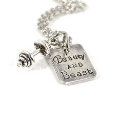 BEAUTY and BEAST CrossFit Workout Fitness Necklace with Mini Barbell Charm on Etsy, $35.00