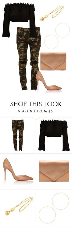 """""""Yes ma'am"""" by phatjuli ❤ liked on Polyvore featuring Balmain, River Island, Christian Louboutin, Micoli, Chanel and Kenneth Jay Lane"""