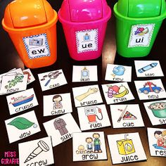 Use dollar store trash cans to sort words by feeding them into the slots! & a ton of ideas for teaching the EW UE UI vowel pattern! Use trash cans with labels for students to learn word sorting. Reading Centers, Reading Activities, Teaching Reading, Literacy Centers, Classroom Activities, Fun Activities, Jolly Phonics Activities, Word Family Activities, 1st Grade Activities