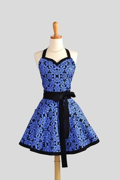 Sweetheart Retro Apron , Sexy Handmade Kitchen Apron in Royal Blue and Black Floral via Etsy