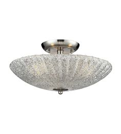 ELK 10271/3 Luminese 3 Light 16 inch Satin Nickel Semi-Flush Mount Ceiling Light #LightingNewYork
