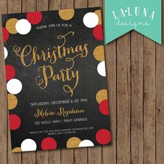 Christmas Party Invitation, Christmas Party Invite, Christmas Party Printable, Chalkboard Christmas Party, Confetti Glitter, DIY Printable