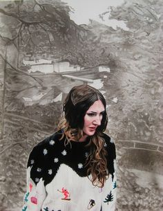Allison Cortson. She paints the background in dust collected from the subject's home. Maybe creepy. Maybe beautiful.