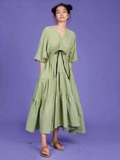 Backless Maxi Dresses, Modest Dresses, Blue Dresses, Dresses For Sale, Dresses Online, Beautiful Summer Dresses, Ethical Clothing, Tiered Dress, Green Stripes
