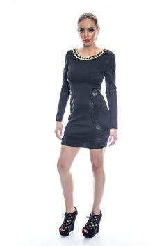 Brass and Leather Bodycon Dress | Affordable Junior Clothing & Plus Sized Dresses | Shimmer