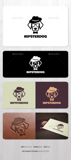 Hipster Dog Logo  — EPS Template #modern #bowtie #funny