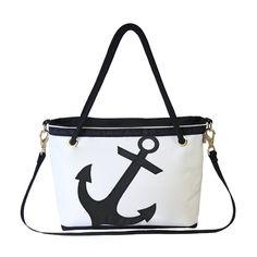 Black Anchor Venice Medium Zippered Tote Bag by Ella Vickers