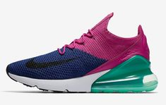 17dc4223385 Nike Air Max 270 Flyknit Color  Deep Royal Blue Black-Fuchsia Flash Style