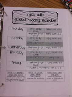 guided reading binder ideas