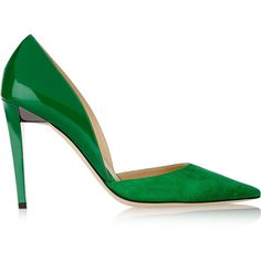 Jimmy Choo Darylin suede and patent-leather pumps ($695) ❤ liked on Polyvore featuring shoes, pumps, heels, green, jimmy choo, heels & pumps, green suede pumps, d'orsay pumps, green high heel shoes and dorsay pump