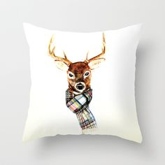 Deer buck with winter scarf - watercolor Throw Pillow by craftberrybush - $20.00