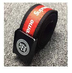Supreme Belt Fashion adjustable Canvas belt red for women (red) Supreme Brand, Branded Belts, Belt Buckles, Fashion Brands, Stylish, Canvas, Red, Stuff To Buy, Black