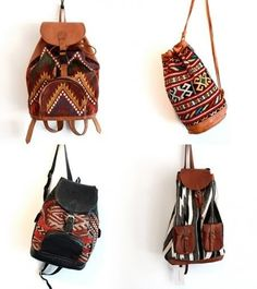 Tribal Leather Back Packs