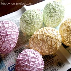 Yarn Eggs ~ then string and use to decorate