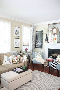 This living room is so warm and inviting...we love!